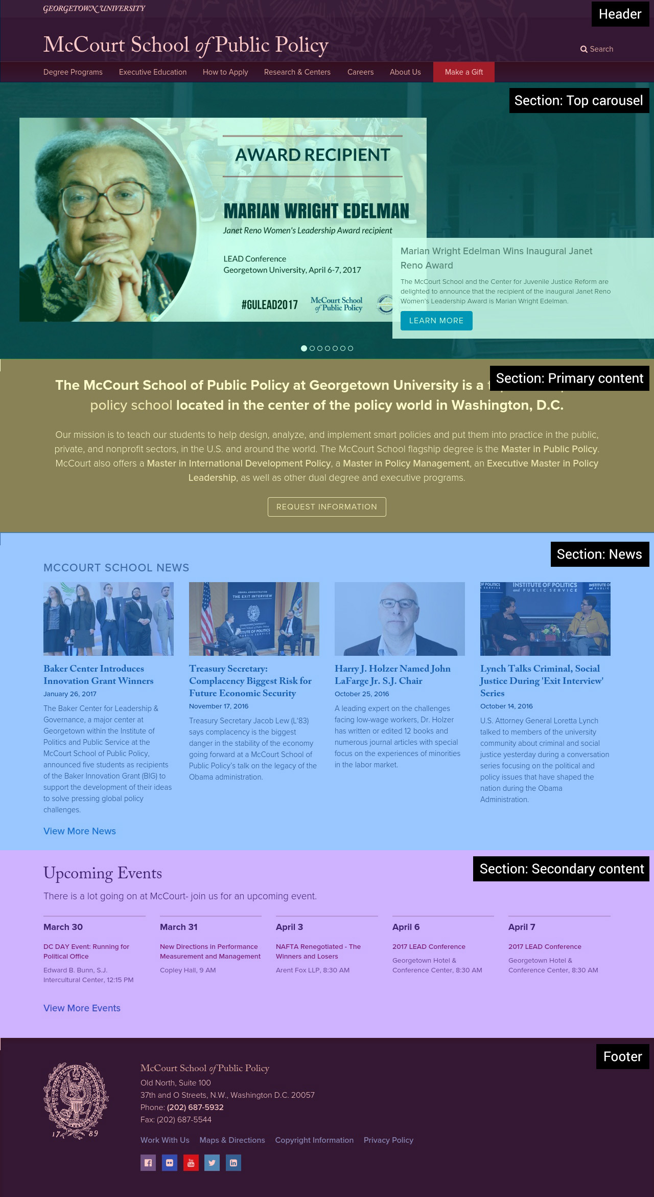 An example of how we identified landmarks on the McCourt School of Public Policy home page.