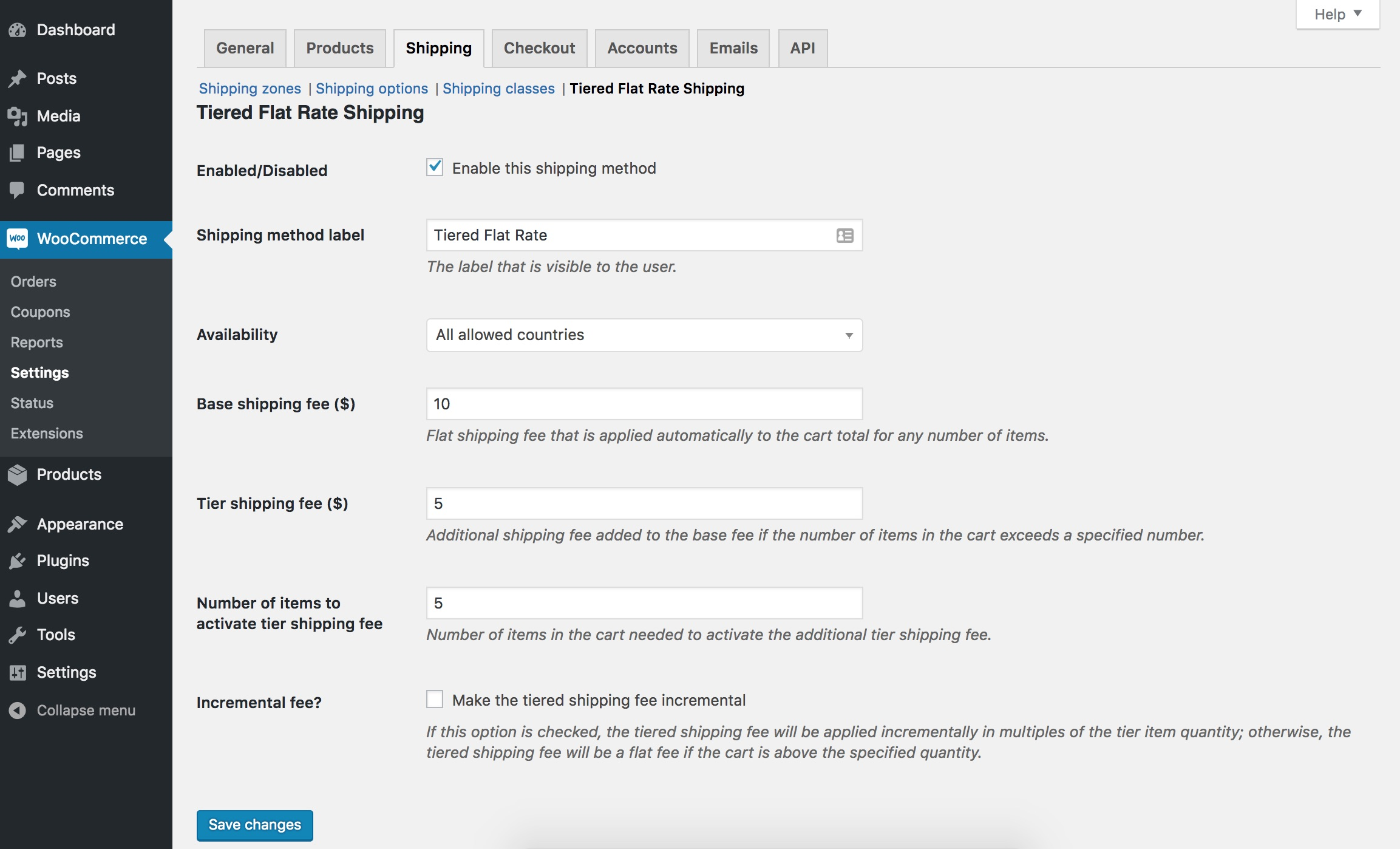 Screenshot of Tiered Shipping settings page